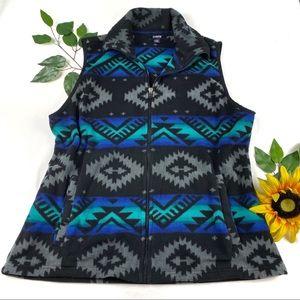 Chaps Sport XL Aztec Western Print Fleece Vest